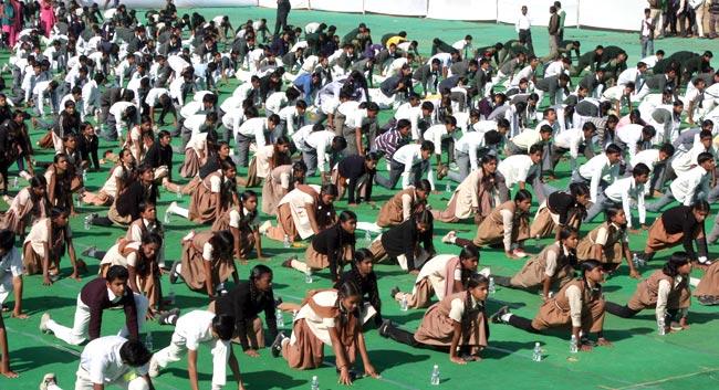 Surya Namaskar school children