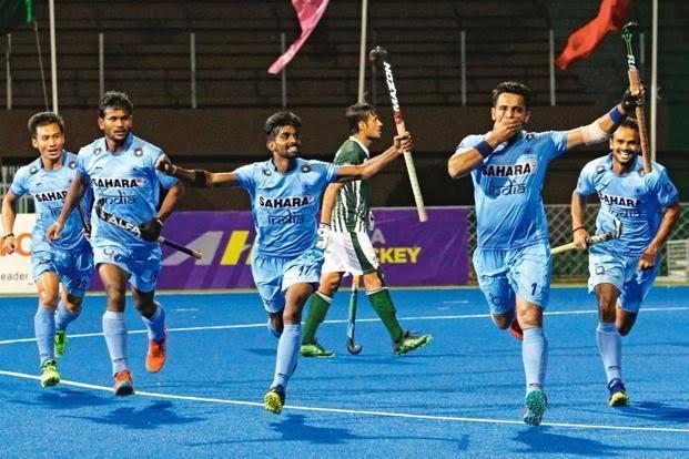 Indian Hockey Team celebrating goal